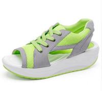 Wholesale Sport Med - 2017 Fashion Summer Women's Sandals Casual Sport Mesh Breathable Shoes Women Ladies Wedges Sandals Lace Platform Sandalias