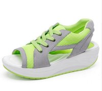 Wholesale Ladies Wedge Shoes Ankle Straps - 2017 Fashion Summer Women's Sandals Casual Sport Mesh Breathable Shoes Women Ladies Wedges Sandals Lace Platform Sandalias