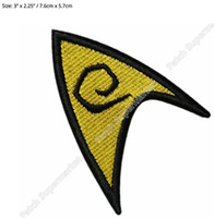 """Wholesale iron patches baseball - 3"""" Star Trek TOS Engineering patch Movie TV Series Costume Cosplay Embroidered Emblem iron on Baseball Cap Badge"""