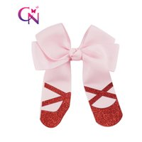 Wholesale Cute Shoe Bow Ribbons - 20 Pcs lot 4 inch Cheer Hair Bow With Glitter Dancing Shoes For Cute Girl Grosgrain Ribbon Hairpins