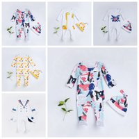 Wholesale giraffe sleeve - Cute romper cartoon Floral baby Jumpsuits dinosaur giraffe kids Climbing clothes with hat 5 styles top quality