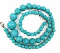 Loveliness Delicate Colors Strand / String Beautiful! 6-14mm Charm Turkey Turquoise Beads Colar de jóias para mulheres 17inch