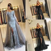 Vestidos de noite Wear 2018 New Silver Grey Black Off Shoulder Lace Appliques Beaded Tulle Split Long Sleeves Party Dress Vestidos de baile formal