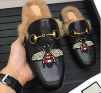 Wholesale Men Winter Loafers - High Quality 2018 Brand Men Autumn Winter Fur Scuffs Fashion Animal Prints Lazy Loafers Rubber Genuine Leather Flat Moccasins 6 Styles