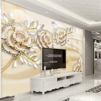 Wholesale roses wallpaper home decor - Custom Mural Wallpaper 3D Fashion Luxury European Style Golden Rose Leaves Wallpaper For Walls 3 D Hotel Living Room Home Decor