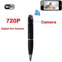 plumas de seguridad al por mayor-HD WIFI Pen Camera monitor remoto inalámbrico 720P Security Mini Audio Video grabadora WIFI P2P pen DVR para iOS Android