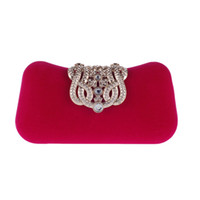 Wholesale Women Bags Glossy - Brand Women Small Shoulder Bags Glossy Rhinestone Evening Purse Mini Party Clutch Handbag Red SMYXST-E0023