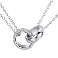 серебро ожерелье с двумя круглыми кольцами оптовых-BELAWANG реальный 925 твердых стерлингового серебра блокировки двойной круг круглый Кристалл ожерелье 44 см длинная цепь Ожерелье для женщин ювелирные изделия