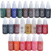 permanente make-up-kits großhandel-1 Los von 30 Flaschen * 15ml Permanent Make-up Tinte Farben Assorted Biotouch Microblading Tattoo Make-up Pigment kosmetische Kits Supplies