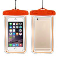 fluoreszenz telefon fall groihandel-100% versiegelt Fluoreszenz leuchtende transparente wasserdichte Tasche für Smartphone Handy Unterwasser Beutel für Samsung S5S6