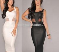 Wholesale Tight Transparent Dressed Women - Wholesale-2015 Hot Sale Women Summer White Black Slim Cute Dress Sexy Tight Party Deep V neck Dresses Women Transparent Mesh Lace Clothing