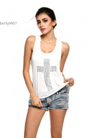 Crew Neck black studded vest - Sexy Ladies Women Vest Cross Pattern Silver Studded T Shirt Tank Sleeveless Tops Blouse Shirt Black White