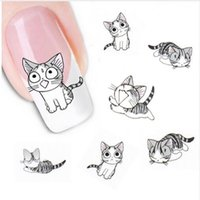 Wholesale Wholesale Pets Transfers - Fashion Lovely Sweet Water Transfer 3D Grey Cute Cat Pets Pattern Nail Sticker Full Wraps Manicure Decal DIY Nail Art Sticker