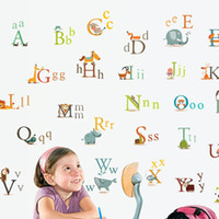 Wholesale Alphabet Wall Paper - Wholesale-Removable Creative cartoon sticker Animal alphabet Home Decoration for Kids rooms PVC wall decal