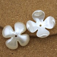 Wholesale Buttons Sewing Pearls - 100pcs lot White Flower Flat Back Scrapbook Simulated Pearl Beads Sewing Button Beading DIY Accessory