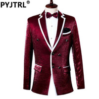 Wholesale Male Straight Jacket - Wholesale- (Jacket + Pants) New Wine Red Mens Suit For Stage Show Chorus Performance Male Suits Tuxedo Men Costume