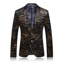 Wholesale Stage Prom Dresses - Wholesale- Men Blazer 2017 Mens Leopard Print Blazer Gold Blazer For Men Stage Costumes For Singers Vintage Suits Party Prom Dresses Q62