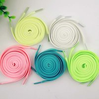 Wholesale Coloured Glow Dark - 5 Colors Luminous Shoelace Flat Coloured Shoe Laces Glow in The Dark Fluorescent Athletic Shoes Party Camping Shoelace