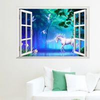 white horse autocollants achat en gros de-Fenêtre 3D Art Mural Stickers Muraux Cheval Blanc forêt décoration murale Affiche De Papier Vue Du Soleil Decal Autocollant