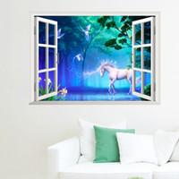 decoração cavalo branco venda por atacado-Janela 3D Art Mural Adesivos De Parede Cavalo Branco floresta Decoração Da Parede Papel Poster Sun View Window Decal Adesivo