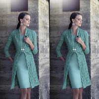Wholesale squared jacket for sale - Group buy 2019 Turquoise Plus Size Mother Of Bride Dress with Jacket Long Sleeves Vintage Lace Knee Length Satin Cheap Bride Groom Prom Gowns
