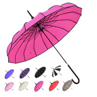 Wholesale Large Straight Handle Umbrellas - Solid Color Long-handled Straight Pagoda Umbrella Big Large Windproof Rain Sunny Umbrella Wholesale