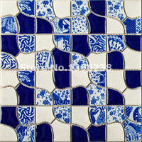 Wholesale Glazed Tiles - NEW!!Flower Pattern ceramic tiles,home deco kitchen backsplash porcelain brick tiles,mixed color blue kiln glazed waterproof mosaics,LSQHC01