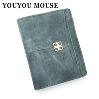 YOUYOU MOUSE Retro Style Ladies Wallet Minimalista Stripe Pattern Purse Short Parágrafo Dois Fold PU Leather Metal Card Holder
