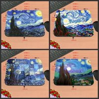 Rubber painted computer desk - Van gogh painting game mouse pad rectangular rubber mat decorate your desk and computer can be used as the children gifts