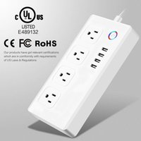 Wholesale Remote Wall Plug - Smart wifi remote control Wall socket Universal plug home hotel wall sockets 5Ft power cord anti-fire ABS Material 4AC Outlets 4USB Ports
