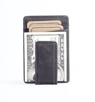 Wholesale Leather Women Money Clips - Vintage Genuine NUBUCK Leather 6 Card Holder Wallet Purse For Men Women Grey Coffee Color With Money Clip R022