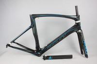 Wholesale Carbon Race Frame - White Sky Blue Black Decals 2017 Full Carbon Racing Road Frame UD Glossy Matt PF30 BB30 Bicycle Frameset