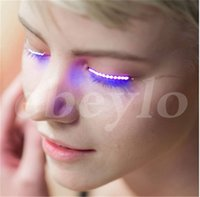 Wholesale Eye Lamp - New Evening party Luminous Eyes LED Eyelash Lamp Double Skin Stickers False Eyelashes Lamp Halloween Saloon Club Party lights