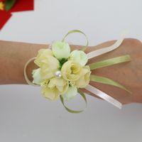 ingrosso polso di damigella d'onore del fiore di mano-bomboniere matrimonio decorazioni floreali fiori artificiali polso corsage damigella d'onore polso fiore sorelle fiore