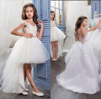Wholesale Dr Prom - Cute Cap Sleeve Sleeveless High Low Flower Girl Dresses 2017 First Communion for Kids Tulle Party Prom Dresses Christmas Eve Dr