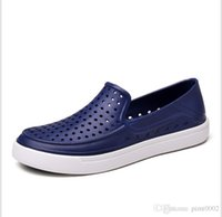 Wholesale High Heels Black Colour - men sandals hollow out flip flops rubber high quality candy colour summer slipper