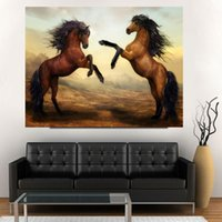 Wholesale Canvas Painting Set Two - 5 Pcs Set Beautiful Two galloping horses Picture Canvas Print Painting Modern Popular Home decoration Wall Art
