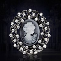Wholesale wholesale cameo brooches - Wholesale- Royal Vintage European style Silver Plated Rhinestone Lady Cameo Brooches for Women Brooch Pins Jewelry