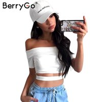 Wholesale basic crop tank top - BerryGo Off shoulder hollow out camisole crop top Sexy summer cotton white camis women tops Basic short sleeve black tank top 17501