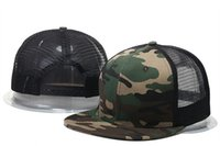 Wholesale Camo Hats Caps - Wholesale 2017 summer style adjustable Blank mesh camo baseball caps snapback hats for men women fashion sports hip hop bone
