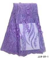 spitze bestickte hochzeitskleider großhandel-3D Blume Spitze mit Perlen afrikanischen bestickt Französisch Tüll Stoff 5 Hof für Hochzeitskleid 2017 JLW-89