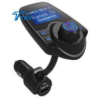 Wholesale Mp3 Set - Wholesale-2016 New Bluetooth Car Kit Handsfree Set FM Transmitter MP3 music Player 5V 2.1A USB Car charger