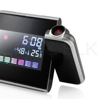 Wholesale Digital Lcd Display Clock - Projection Digital Weather LCD Snooze Alarm Clock Color Display w  LED Backlight