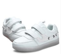 Wholesale Boy Shoes Retail - Kids Shoes Enfant Luminous Shoes Retail Children Led Lights Shoes Boys Girls Usb Charger Light Sneaker Casual