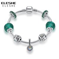 Wholesale Snake Chain Fit Murano Beads - Valentine's Day Fashion Crystal&Green Murano Glass Beads Charm Bracelets For Women Fit Original Snake Chain Bracelets Bangle