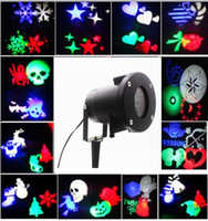 Wholesale Wholesale Slide Projector - Christmas Garden Laser Projector Lamps LED landscape Light 12 slides head moving laser light for Christmas Halloween Party wedding birthday