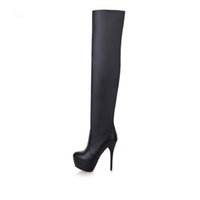 2017 Factory Discount Sexy Round Toe Over The Knee High Solid Boots Модные женские туфли Lady's High Heel Осенние сапоги