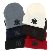 Wholesale Ny Fitted Hats Wholesale - hot sale Women Men Knitted Embroidered Beanie Hat NY Letters Casual Caps Winter Warm Sport Outdoor Ski Skull Caps