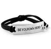 lange lederarmbänder großhandel-JLN personalisierte Gravur Schriftzug Seien Sie Ihr eigener Held Long Bar Wildleder Lederarmband