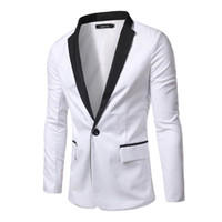 Wholesale Single Collar Mens Suit - Wholesale- 2016 new mens fashion collar stitching slim casual single row button suit comfortable breathable cotton hot selling